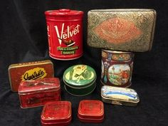 GREAT GROUPING OF ASSORTED TIN BOXES AND CANISTERS. THE MAJORITY OF THEM ARE VINTAGE INCLUDING A JUSTRITE CIGAR BOX, KEELOX BRAND TINS, A SMALL COLUMBIA TOBACCO BOX, AND MORE