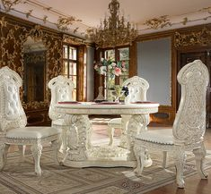Round Dining Table Sets, White Round Tables, Dining Table In Kitchen, Living Room Upholstery, Living Room Chairs, Traditional Dining Tables, Victorian Living Room, Luxury Furniture, Table Settings