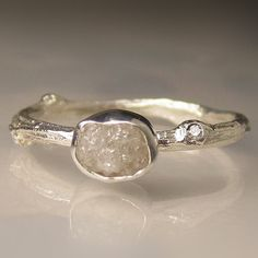 Raw White Diamond Twig Ring in Recycled Sterling by artifactum, $190.00