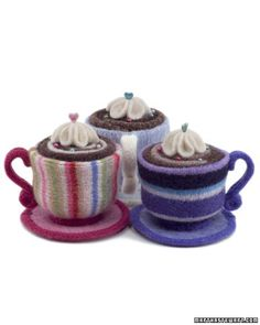 Teacup Pincushions - Martha Stewart Crafts  - yummy - I love my cup of tea whilst I sew!