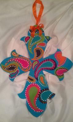 Items similar to Paisley Painted Cross on Etsy Painted Wooden Crosses, Wood Crosses, Wooden Letters, Decorative Crosses, Paisley, Cross Door Hangers, Christian Crafts, Christian Art, Cross Wreath