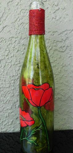 Red Poppies painted on a Recycled Bottle by artsyleenies on Etsy, $25.00