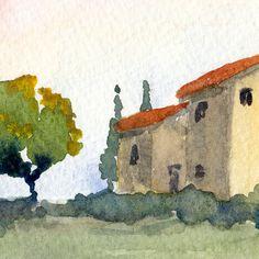 paesaggio dell'acquerello italiano  Toscana primavera