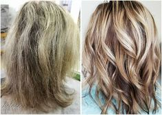 Before & After using Monat products! Amazing results from a stylist that uses Monat in her salon. Fresh color and Monat Rejuveniqe Oil to the rescue!! #Monat #BeforeandAfter #Hair #HealthyHair #DamagedHair #HairStyle #HairColor