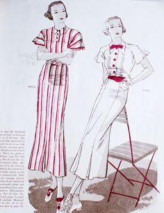30's catalogue, vintage 1930's fashion illustration, dresses, red and white