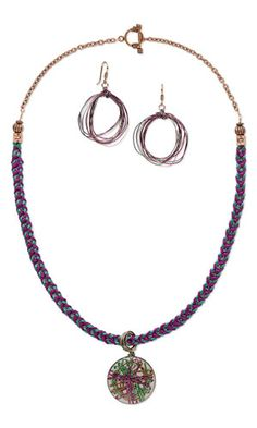 Single-Strand Necklace and Earring Set with Resin and Aluminum Focal, Kumihimo Satin Cord, Purely Silk™ Thread and Wirework - Fire Mountain Gems and Beads