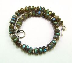 Blue Flash Labradorite & Sterling Silver Necklace by TheSilverBear, $195.00