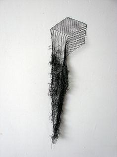 Elodie Antoine, Cube, Black lace thread and pins, 2012 Textiles, Textile Fiber Art, Textile Sculpture, Thread Art, Land Art, Wire Art, Installation Art, Art Installations, Art Plastique
