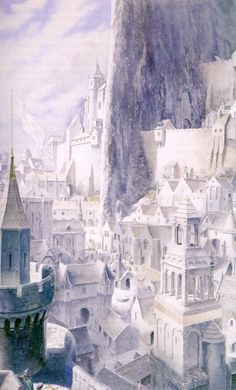 Alan Lee, my all time favourite artist- his art for LOTR, The Odessy and Black Ships Before Troy is simply stunning...This is Minas Tirith, Gondor.