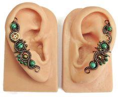Malachite & Bronze Steampunk Ear Cuffs by HeatherJordanJewelry