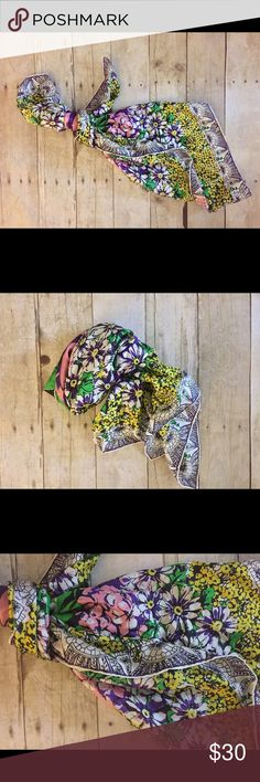 """Spectacular CAbi, Carol Anderson Silk Scarf A huge pink rose surrounded by layers of flower blossoms in purples, lemon yellow, white and green makes this silk scarf a celebration of summer! Measures 32"""" and is in excellent condition! Accessories Scarves & Wraps"""