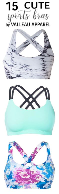 15 super cute Valleau Apparel sports bras to help you crush your fitness goals! Perfect for yoga, running, dance, cheer and so much more. Marble | Mint | Floral crops. Active wear