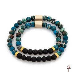 Father and Son Collection Black and Turquoise Bracelet #bracelet #black #exclusive #father #son #gemstone #men #onyx #silver #turquoise #menfashion
