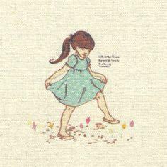 coupon tissu lin, image, patchwork romantique, bleu, beige, env. 12x12 cm