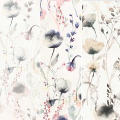 Our botanical wallpaper Lo in three lovely color settings pastel, pink and brown - Sandberg Wallpaper Large Floral Wallpaper, Botanical Wallpaper, Flower Wallpaper, Swedish Design, Scandinavian Design, Floral Pins, Inspirational Wallpapers, Bathroom Wallpaper, Designer Wallpaper