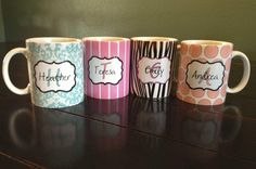 Personalized Mugs - 9 Designs! 29 Colors! Great For Christmas!   Very Jane