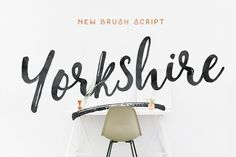 Yorkshire is a beautiful brush script created with both pen & brush to give a great contrast between thick ...