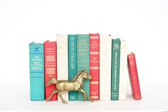 Teal Pink White Book Collection - Decorative Book Decor