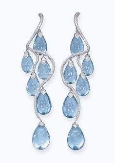 Cabochon Blue Topaz, Diamond and 18K White Gold Earrings