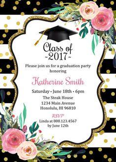 Graduation Invitation for girls. Graduation Party Invitation.
