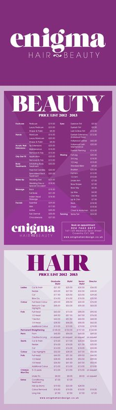 Brand Identity and price list for hair and beauty salon, Enigma. Designed by The Usual Studio #branding #blackletter #theusualstudio