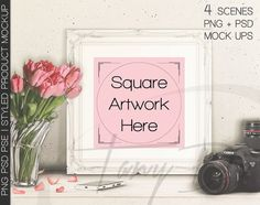 10x10 Square Ornamental White Matted & Unmatted Frame on Table, Tulips Camera, Print Display Mockups, PNG PSD PSE, Styled Images 8x8 16x16