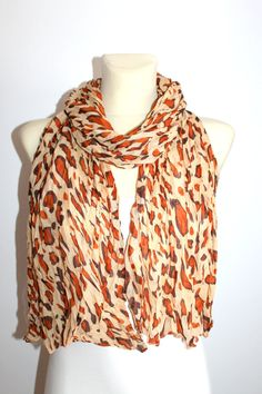 Fabric Leopard Scarf - Brown Leopard Scarf - Animal Print Scarf - Women Fashion Accessories - Gift Idea for Her - Spring Autumn Winter