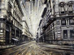 J'aime vraiment la perspective et l'ambiance des peintures à huile de Valerio D'Ospina, basé en Pennsylvanie. L'artiste met en scène l'industrie américaine, chantiers navals, trains, usines… aussi bien que de larges « urbanscapes ». Il y apporte une touche dramatique, spectaculaire, tout droit sortie d'un roman noir.