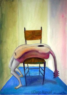 guitarra, acrylic on canvas, 44 x 65 cm., 2003. Painting for sale of the Serie Music by artist Diego Manuel. Cuadro en venta de la Serie Musica