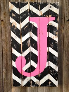 Chevron Hand Painted Wood Sign with Initial,  Wood Wall Decor, Old Wood Decor, Monogram Decor, Wall Art , Rustic Wood Sign, Initials Decor