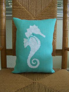 Seahorse pillow Beach pillow Nautical pillow by KelleysCollections