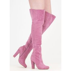 Walking Tall Over-The-Knee Boots ($34) ❤ liked on Polyvore featuring shoes, boots, pink, above knee boots, over the knee boots, thigh boots, thigh high boots and tall boots