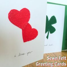 Sewn Felt Greeting Cards simple and cute DIY