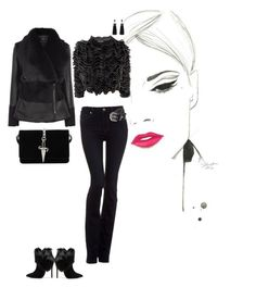 """""""black'n'frills"""" by claudyael ❤ liked on Polyvore featuring Paige Denim, Alexander McQueen, Schutz, Nush and Cesare Paciotti"""