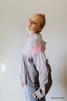 80s Adidas Trefoil Windbreaker Vintage Adidas by MileZeroVintage, $98.00 Fresh Prince, Hip Hop, Vintage Sport, Wind Breaker, Pink Adidas, Vintage Adidas, Pink Fabric, Pink Grey, Gray Color