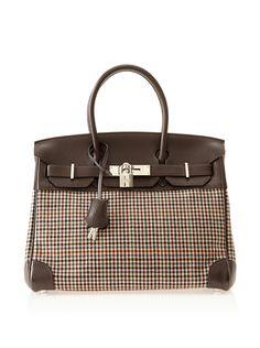 Hermes Archive Leather/Houndstooth Birkin Bag at MYHABIT