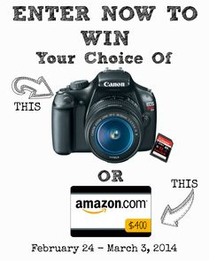 My Crafting Attic: Giveaway: Canon Rebel t3 or $400 Amazon Gift Card