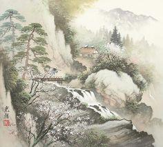 Arts of Koukei Kojima - tuantruong Chinese Painting, Chinese Art, Waterfall Paintings, Digital Film, Japanese Artists, Asian Art, Landscape Paintings, Scenery, Illustration Art