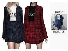 PLAID SET by casteru Lotes The Sims 4, The Sims 4 Skin, Sims 4 Mm, Sims Mods, Sims 4 Game Mods, Baggy Pullover, Sims 4 Cc Kids Clothing, Sims 4 Mods Clothes, Sims 4 Dresses