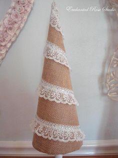 Christmas Cone Tree Burlap Lace & Swarovski Crystals #pizzo #decorazione #easy #diy #craft #romantic #xsmas #natale #decoration #christmas #feste #holidays