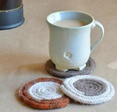 Spice up your table and avoid rings with these easy DIY knitted coasters.