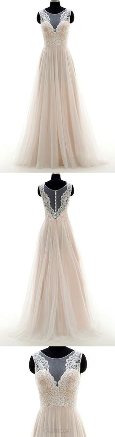 Beach Wedding Dresses A-line, Scoop Neck Tulle Bridal Gowns Long Appliques, Lace Wedding Dress Inexpensive