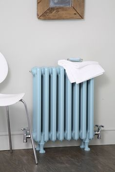 Cast iron radiator finished in pastel blue, always cool. Talk to Simply radiators about this and many other creative ideas.
