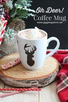 DIY Oh Deer! Coffee Mug made with Cricut Explore -- Giggles Galore. #DesignSpaceStar Round 5