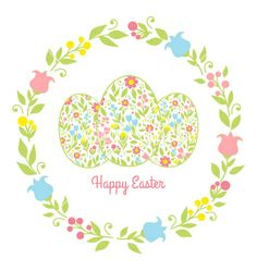 Card easter eggs with flowers vector by DMITRII on VectorStock®