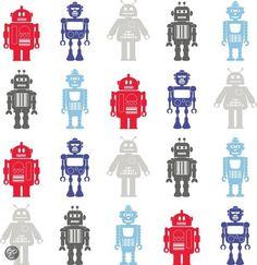 bol.com | Dutch Wallcoverings Robots - Blauw/Rood/Zilver | Klussen