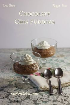 This easy low carb chocolate chia pudding recipe can be made with either regular or dark unsweetened cocoa. It's a simple sugar free dessert that's super healthy too!