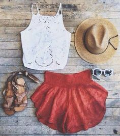 Wheretoget - White lace halter top, straw hat, red shorts, brown sandals and white sunglasses