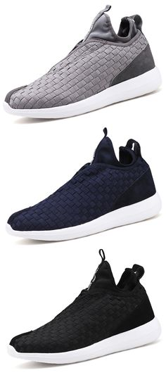 Men Weave Light Slip On Breathable Leisure Running Sport Casual Shoes