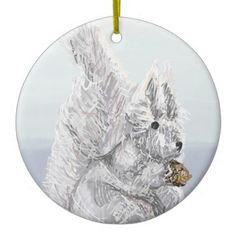 Christmas squirrel ceramic ornament - white gifts elegant diy gift ideas